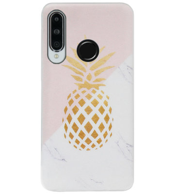 ADEL Siliconen Back Cover Softcase Hoesje voor Huawei P30 Lite - Ananas Roze Goud