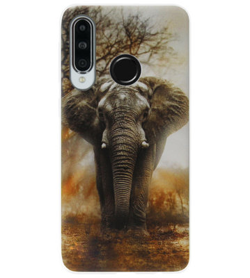 ADEL Siliconen Back Cover Softcase Hoesje voor Huawei P30 Lite - Olifant