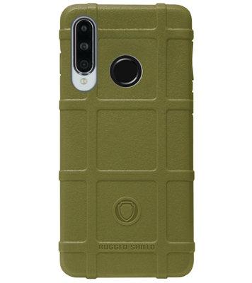 RUGGED SHIELD Rubber Bumper Case Hoesje voor Huawei P30 Lite - Groen