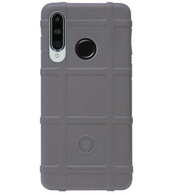 RUGGED SHIELD Rubber Bumper Case Hoesje voor Huawei P30 Lite - Grijs