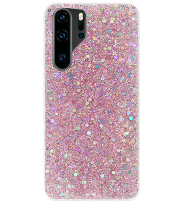 ADEL Premium Siliconen Back Cover Softcase Hoesje voor Huawei P30 Pro - Bling Bling Roze
