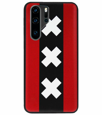 ADEL Siliconen Back Cover Softcase Hoesje voor Huawei P30 Pro - Amsterdam Andreaskruisen