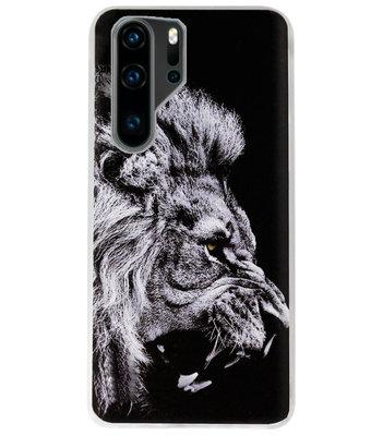 ADEL Siliconen Back Cover Softcase Hoesje voor Huawei P30 Pro - Leeuw Zwart