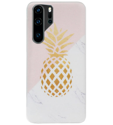 ADEL Siliconen Back Cover Softcase Hoesje voor Huawei P30 Pro - Ananas Roze Goud
