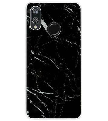 ADEL Siliconen Back Cover Softcase Hoesje voor Huawei P20 Lite (2018) - Marmer Zwart
