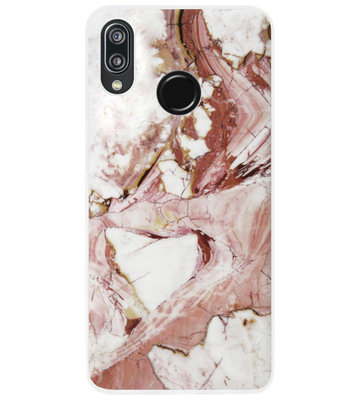 ADEL Siliconen Back Cover Softcase Hoesje voor Huawei P20 Lite (2018) - Marmer Rood