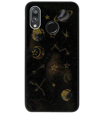 ADEL Siliconen Back Cover Softcase Hoesje voor Huawei P20 Lite (2018) - Heelal Bling Bling Goud