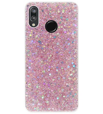 ADEL Premium Siliconen Back Cover Softcase Hoesje voor Huawei P20 Lite (2018) - Bling Bling Roze
