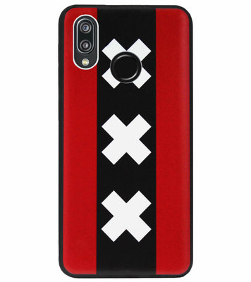 ADEL Siliconen Back Cover Softcase Hoesje voor Huawei P20 Lite (2018) - Amsterdam Andreaskruisen