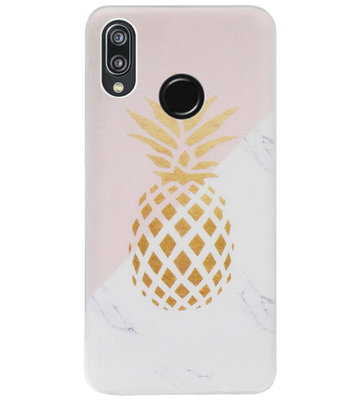 ADEL Siliconen Back Cover Softcase Hoesje voor Huawei P20 Lite (2018) - Ananas Roze Goud