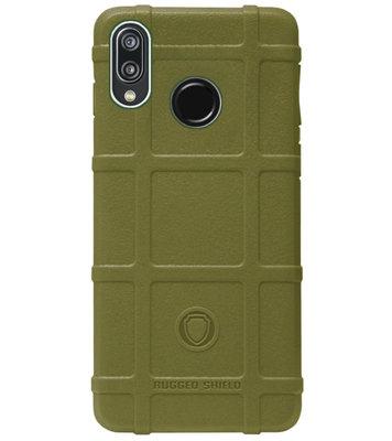 RUGGED SHIELD Rubber Bumper Case Hoesje voor Huawei P20 Lite (2018) - Groen