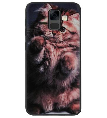 ADEL Siliconen Back Cover Softcase Hoesje voor Samsung Galaxy A6 Plus (2018) - Kat Schattig