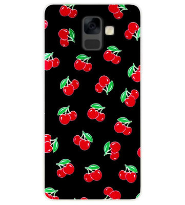 ADEL Siliconen Back Cover Softcase Hoesje voor Samsung Galaxy A6 Plus (2018) - Kersen Fruit