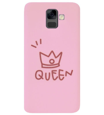 ADEL Siliconen Back Cover Softcase Hoesje voor Samsung Galaxy A6 Plus (2018) - Queen Roze