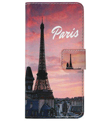 ADEL Kunstleren Book Case Pasjes Portemonnee Hoesje voor Samsung Galaxy A9 (2018) - Parijs Eiffeltoren