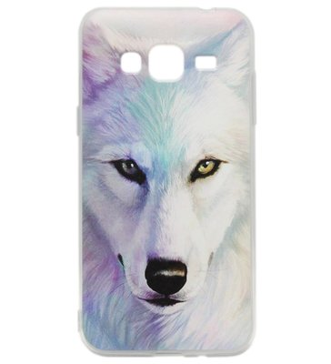 ADEL Siliconen Back Cover Softcase hoesje voor Samsung Galaxy J3 (2015)/ J3 (2016) - Wolven