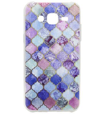 ADEL Siliconen Back Cover Softcase Hoesje voor Samsung Galaxy J7 (2015) - Scrub Marmer Blauw