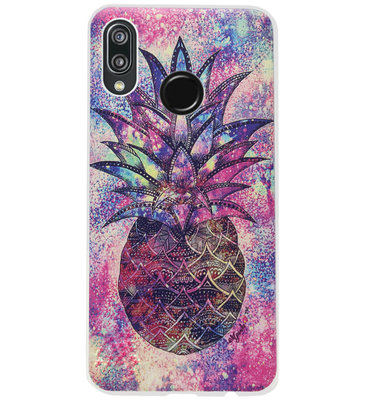 ADEL Siliconen Back Cover Softcase Hoesje voor Huawei P20 Lite (2018) - Ananas Kleur
