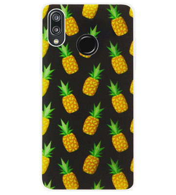 ADEL Siliconen Back Cover Softcase Hoesje voor Huawei P20 Lite (2018) - Ananas Groen