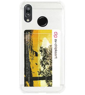 ADEL Siliconen Back Cover Softcase Hoesje voor Huawei P20 Lite (2018) - Pasjeshouder Doorzichtig