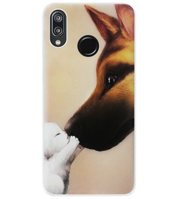 ADEL Siliconen Back Cover Softcase Hoesje voor Huawei P20 Lite (2018) - Hond Kat Familie