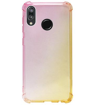 ADEL Siliconen Back Cover Softcase Hoesje voor Huawei P20 Lite (2018) - Kleurovergang Roze Geel