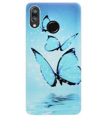 ADEL Siliconen Back Cover Softcase Hoesje voor Huawei P20 Lite (2018) - Vlinder Blauw