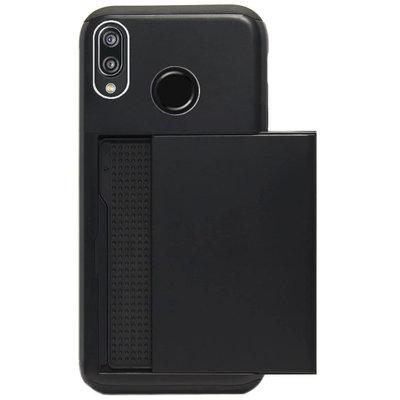 ADEL Kunststof Back Cover Hardcase Hoesje voor Huawei P20 Lite (2018) - Pasjeshouder Zwart