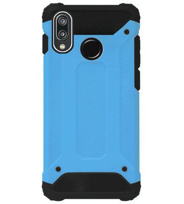 WLONS Rubber Bumper Case Hoesje voor Huawei P20 Lite (2018) - Blauw