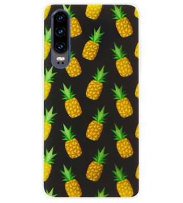 ADEL Siliconen Back Cover Softcase Hoesje voor Huawei P30 - Ananas Groen