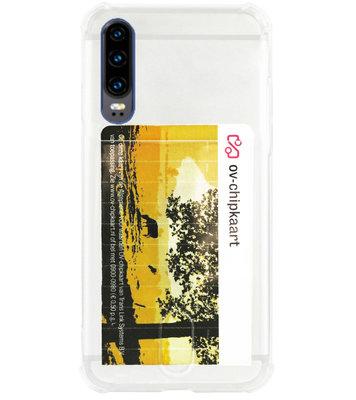 ADEL Siliconen Back Cover Softcase Hoesje voor Huawei P30 - Pasjeshouder Doorzichtig