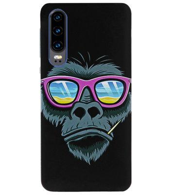 ADEL Siliconen Back Cover Softcase Hoesje voor Huawei P30 - Gorilla Apen