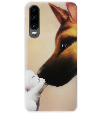 ADEL Siliconen Back Cover Softcase Hoesje voor Huawei P30 - Hond Kat Familie