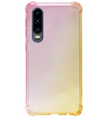 ADEL Siliconen Back Cover Softcase Hoesje voor Huawei P30 - Kleurovergang Roze Geel