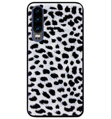 ADEL Siliconen Back Cover Softcase Hoesje voor Huawei P30 - Luipaard Wit