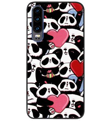 ADEL Siliconen Back Cover Softcase Hoesje voor Huawei P30 - Panda Hartjes