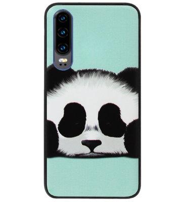 ADEL Siliconen Back Cover Softcase Hoesje voor Huawei P30 - Panda Groen