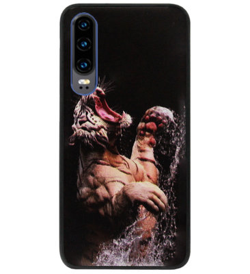 ADEL Siliconen Back Cover Softcase Hoesje voor Huawei P30 - Tijger Schreeuwend