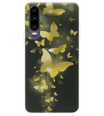 ADEL Siliconen Back Cover Softcase Hoesje voor Huawei P30 - Vlinder Goud