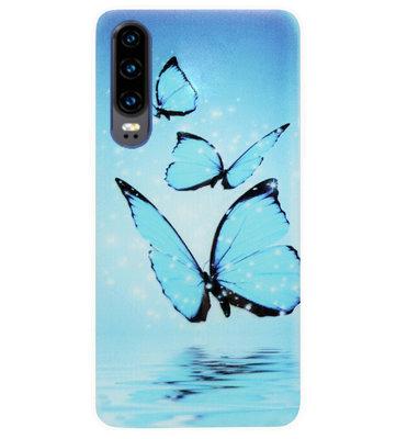ADEL Siliconen Back Cover Softcase Hoesje voor Huawei P30 - Vlinder Blauw