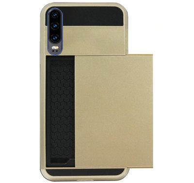 ADEL Kunststof Back Cover Hardcase Hoesje voor Huawei P30 - Pasjeshouder Goud
