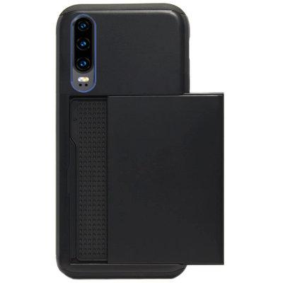 ADEL Kunststof Back Cover Hardcase Hoesje voor Huawei P30 - Pasjeshouder Zwart