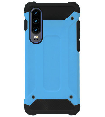 WLONS Rubber Bumper Case Hoesje voor Huawei P30 - Blauw