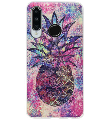 ADEL Siliconen Back Cover Softcase Hoesje voor Huawei P30 Lite - Ananas Kleur