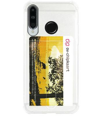 ADEL Siliconen Back Cover Softcase Hoesje voor Huawei P30 Lite - Pasjeshouder Doorzichtig