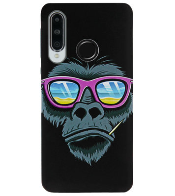 ADEL Siliconen Back Cover Softcase Hoesje voor Huawei P30 Lite - Gorilla Apen