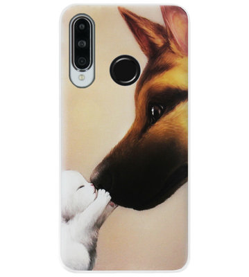 ADEL Siliconen Back Cover Softcase Hoesje voor Huawei P30 Lite - Hond Kat Familie
