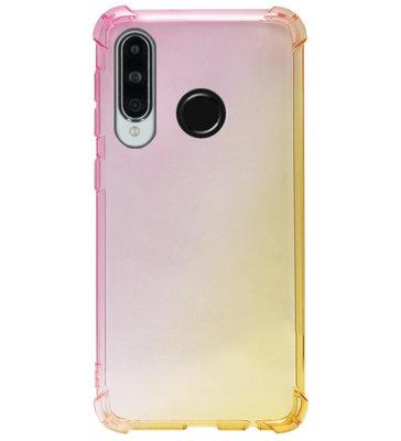 ADEL Siliconen Back Cover Softcase Hoesje voor Huawei P30 Lite - Kleurovergang Roze Geel