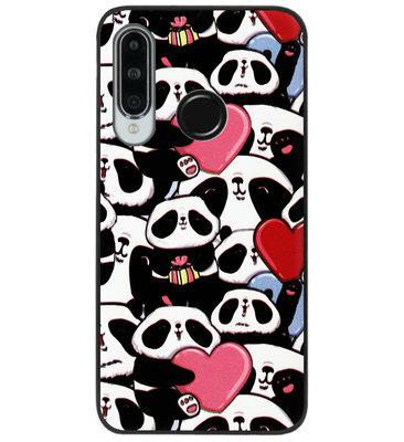 ADEL Siliconen Back Cover Softcase Hoesje voor Huawei P30 Lite - Panda Hartjes
