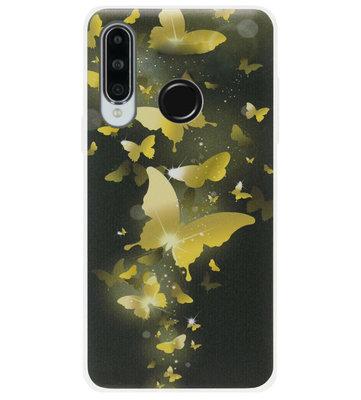 ADEL Siliconen Back Cover Softcase Hoesje voor Huawei P30 Lite - Vlinder Goud